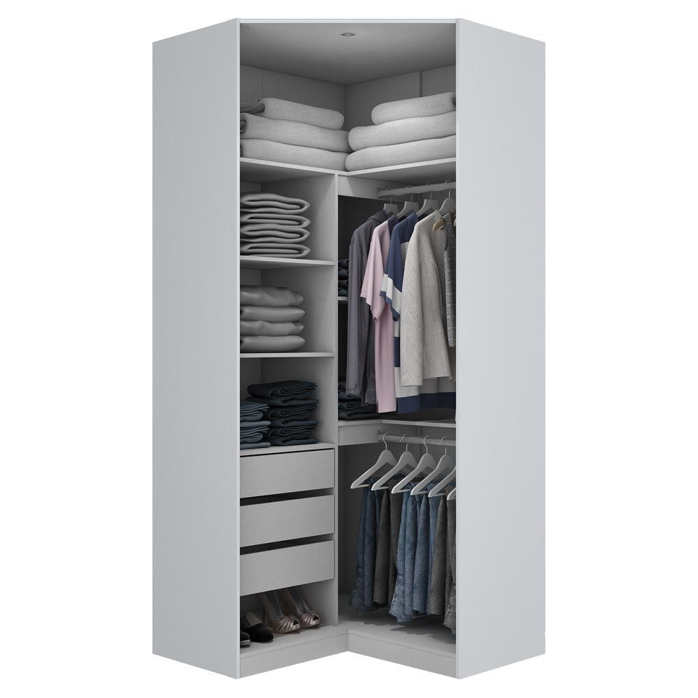Canto Closet 2 Portas Com Espelho Exclusive Branco Hp Henn  ~ Posters Para Imprimir Quarto E Guarda Roupa Para Quarto