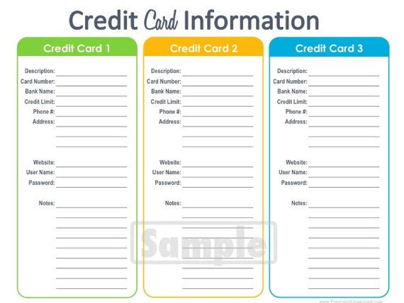 Credit Card Information Printable Fillable Personal Finance