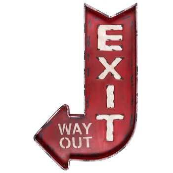 Wall Sign Decor Brilliant Distressed Red Exit  Way Out Metal Wall Decor Hobbylobby $2250 Design Ideas