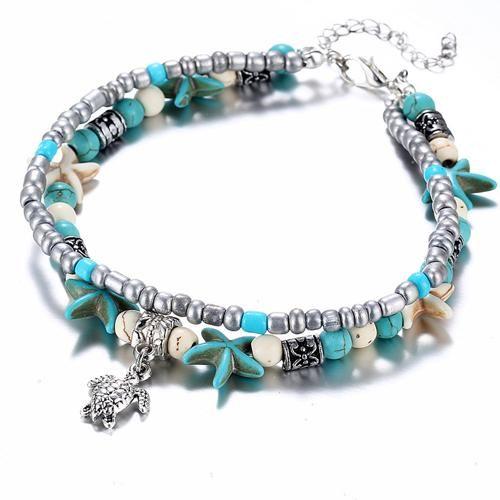 LE SKY Bohemian Crystal Stone Anklets Double Beach Foot Chain Conch Starfish Alloy Turtle Pendant Leg Bracelet Women Jewelry