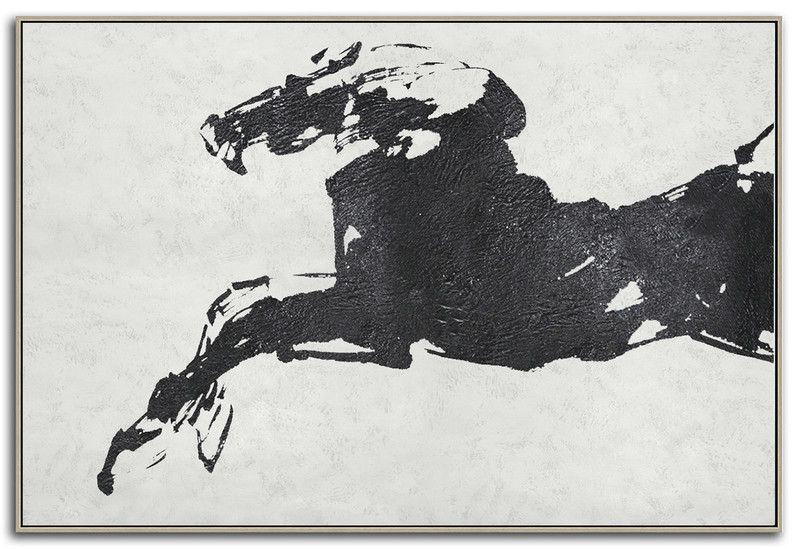Original Art Abstract Horse Painting Black White Minimalism Canvas Pt033