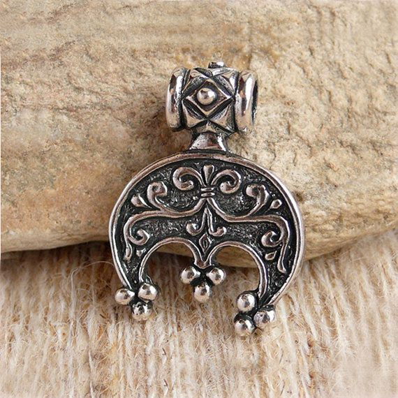 Ancient Solid Silver Neck Pendant Moon Shaped /'/'Lunula/'/'
