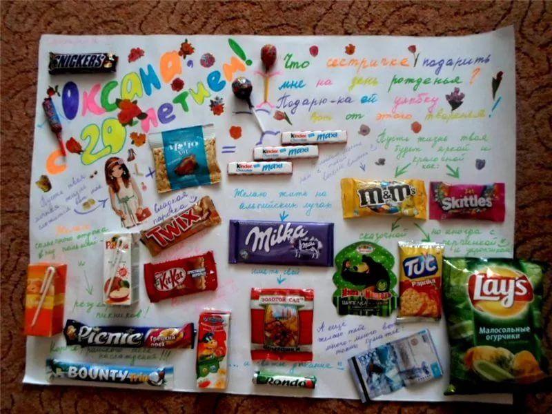 Открытка с шоколадками на день рождения