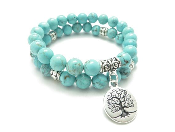 Sterling silver and Turquoise Gemstone beaded stretch bracelet with Tree Of Life