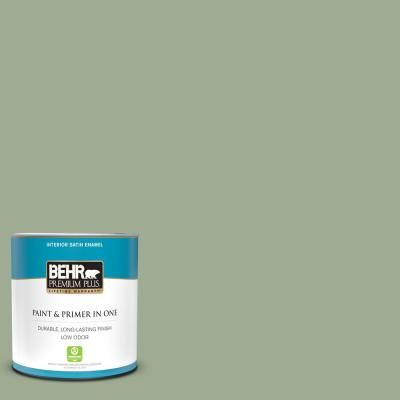 Behr Premium Plus 1 Qt S390 4 Roof Top Garden Satin Enamel Low Odor Interior Paint And Primer In One Behr Premium Plus Interior Paint Behr
