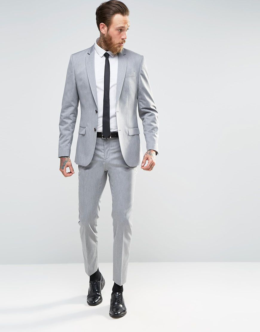 Image 1 of River Island Grey Suit In Slim Fit
