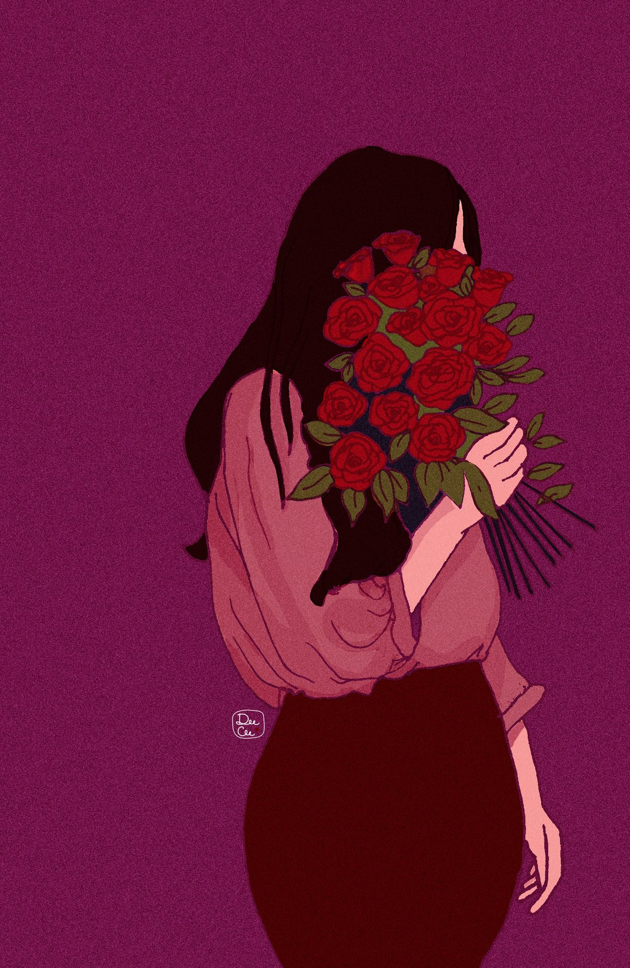 Pink Rose Aesthetic Drawing