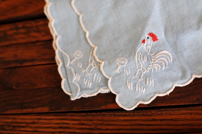 chicken embroidered napkins/hankies