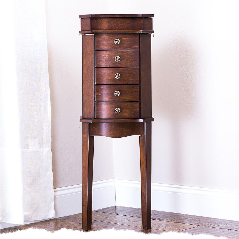 Jewelry Armoire Box Wood Chest Mirror Cabinet Ring Necklace Free