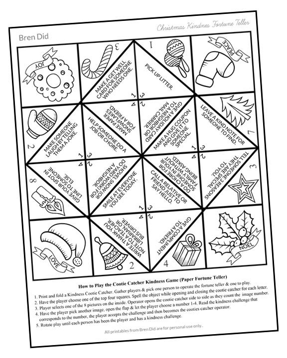 Random Acts of Kindness for Kids: Christmas Cootie Catcher