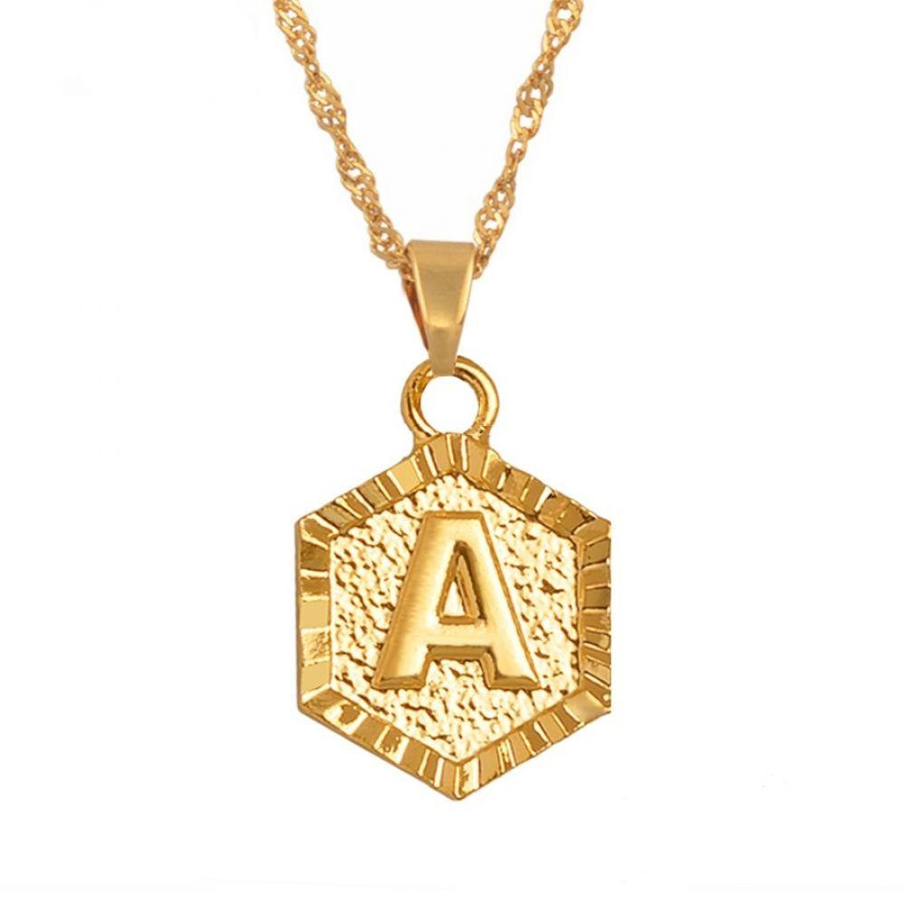 LA BLINGZ 10K White Gold Nugget Initial Letter K Necklace
