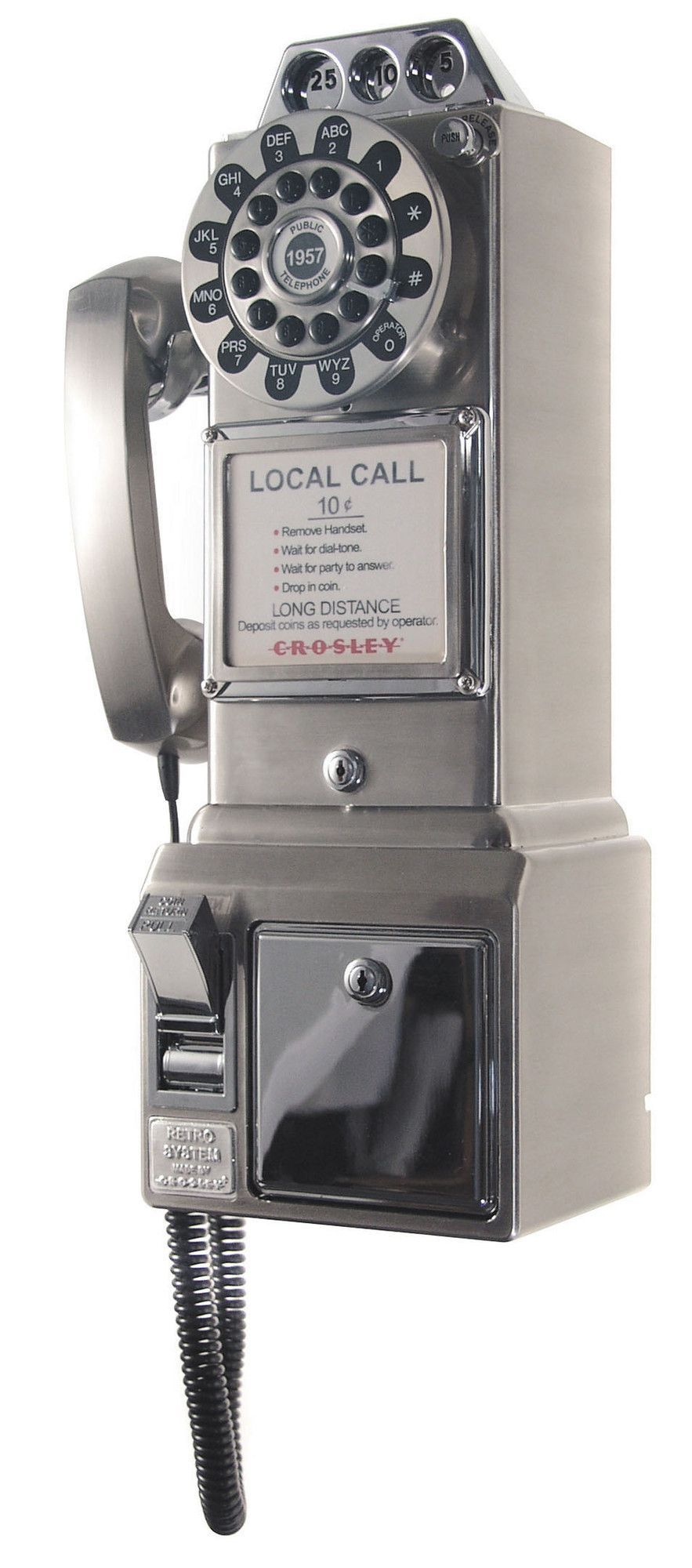 1950's Classic Brushed Chrome Pay Phone Old phone