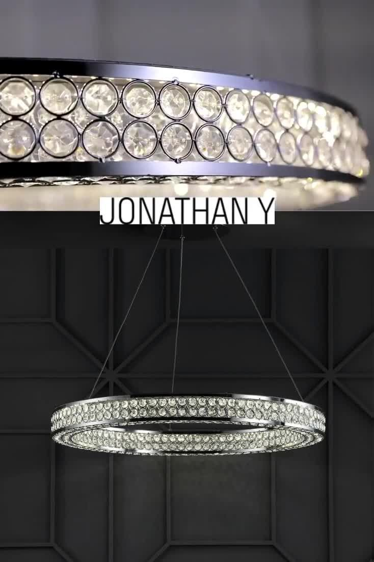 Hoop pendant with traditional faceted crystal Integrated LED Chandelier by Jonathan Y. #JonathanY #HomeDecor #Lamps #DesignerLamps #ModernLighting #CeilingLighting #PendantLighting #chrome