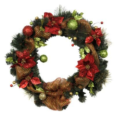 Holly Jolly Poinsettia  Ribbon Wreath Poinsettia, Wreaths and