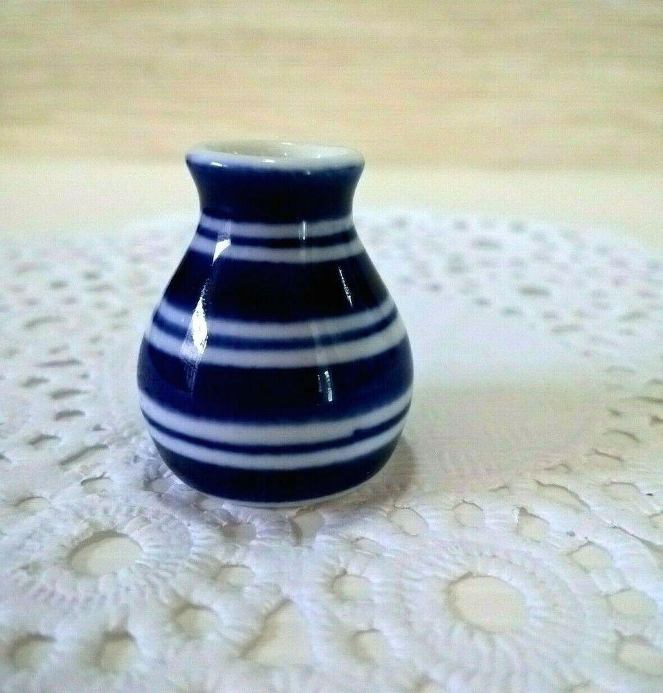 Dollhouse Miniature  blue hand painted  jar