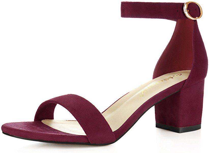 587cdaec1a Amazon.com   Allegra K Women's Mid Block Heel Ankle Strap Sandals (Size US  5) Light Pink   Heeled Sandals
