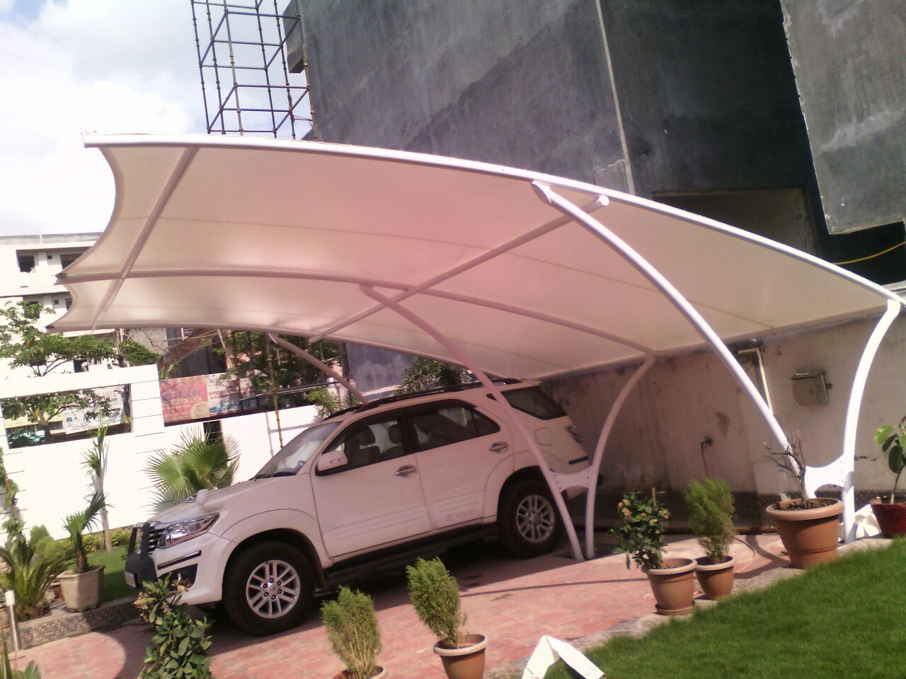 Tensile Structure Tensile Structure For Car Parking French Tensile Roofing Conical Tensile Roof Car Porch Design Parking Design Roof Design