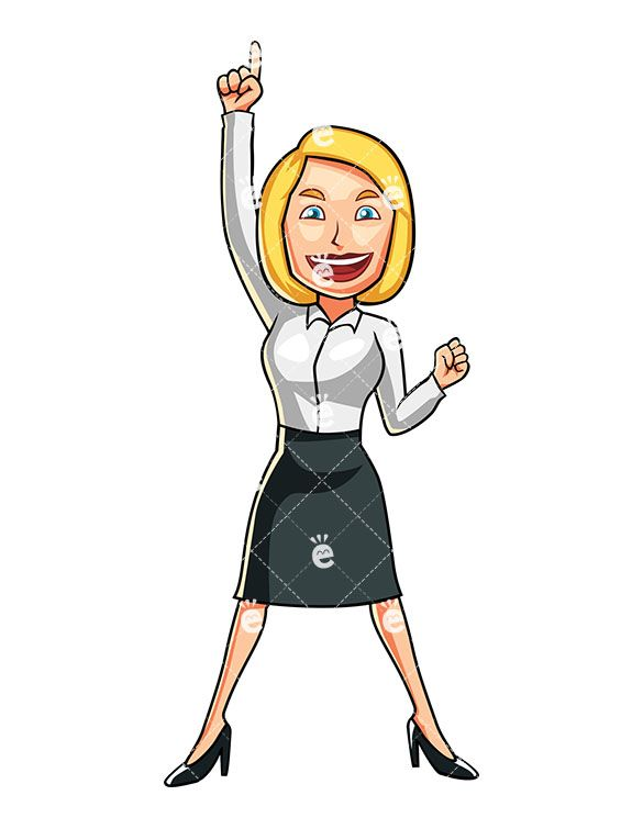 A Businesswoman Feeling Like A Winner Business Women Cartoons