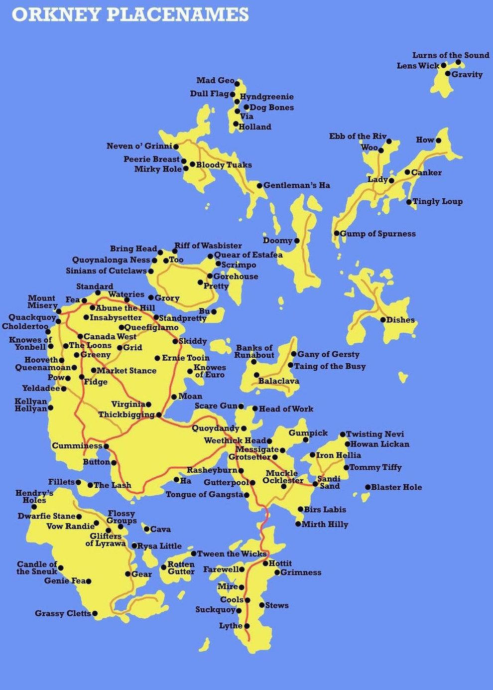 This fabulous map showing all of the weird place names in the Orkney Islands.