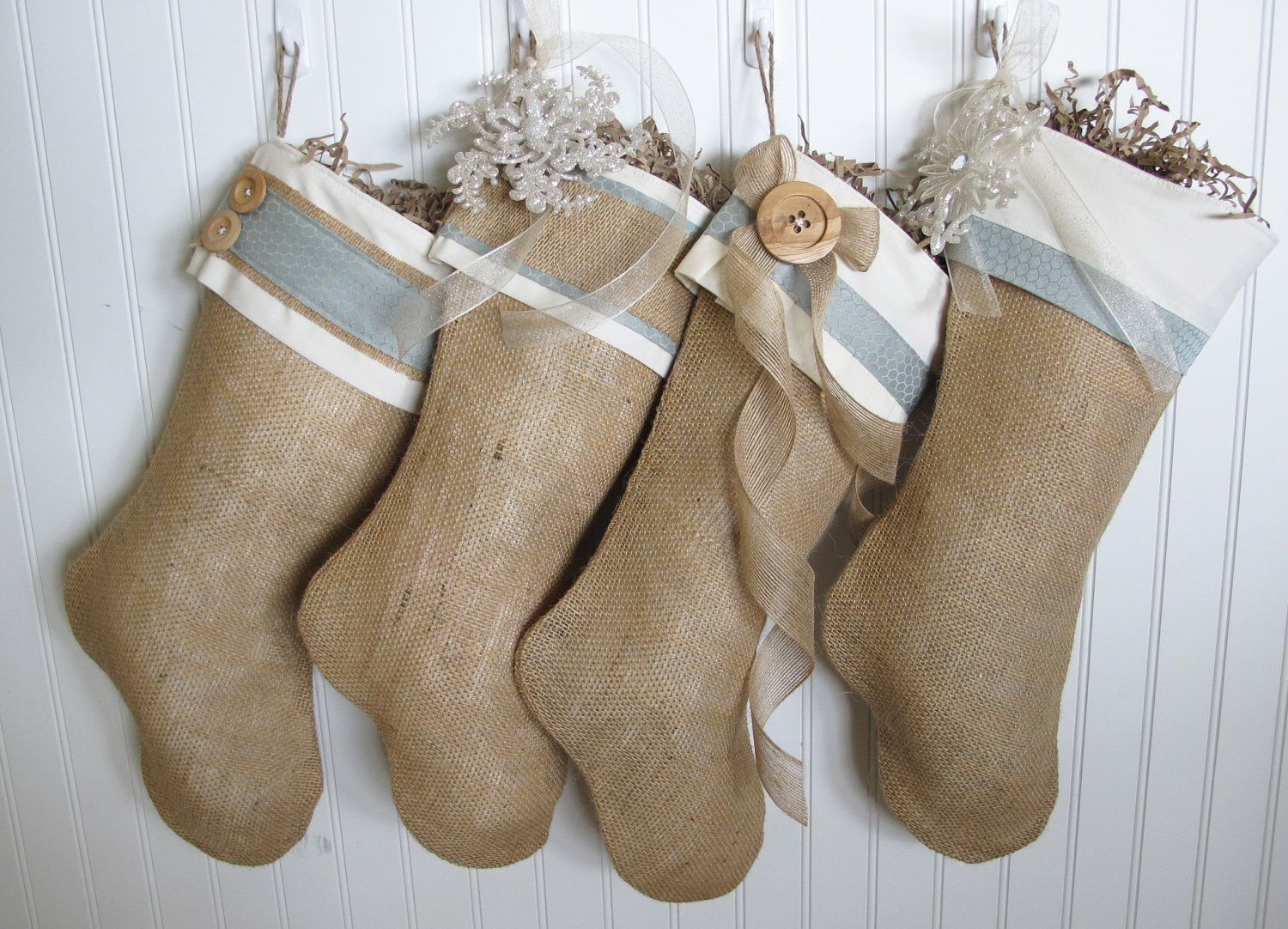 shabby chic burlap christmas stocking in blue with ruffles