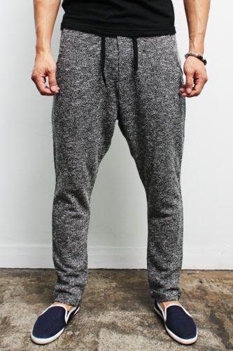 bd37a46af Details about Mens Fashion Semi Baggy Knit Sweatpants - Black / Gray ...