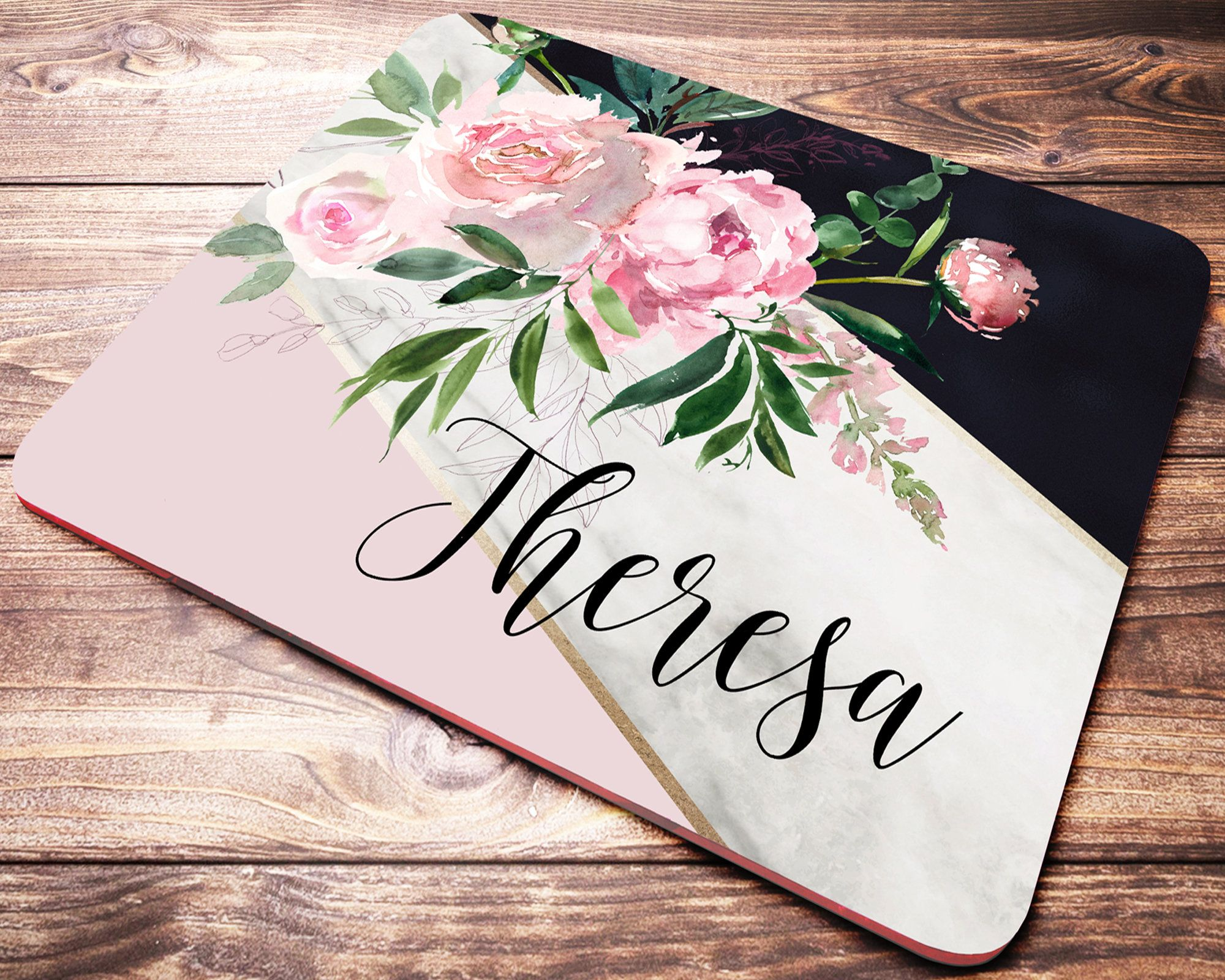 Floral Marble Rubber 2 piece Personalized Desk Set with Rubber Coaster /& Mouse Pad