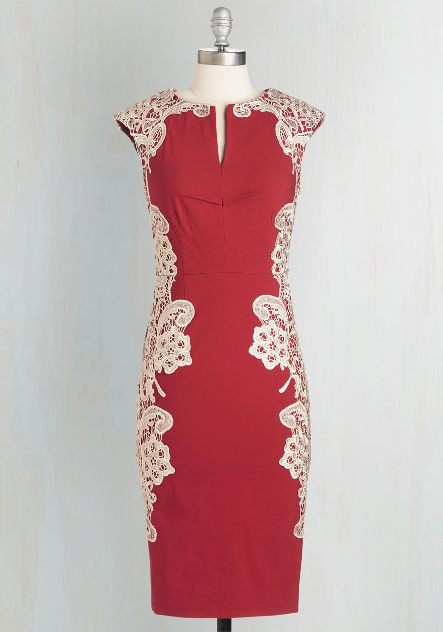 $26.99 Lakeside Libations Dress in Crimson. Youre celebrating a successful year at your upstate lodge, and you look as gorgeous as the decorations on this red dress! #red #modcloth
