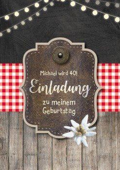 Alpenhutte Einladung Zum Huttengaudi Geburtstag Alpenlook