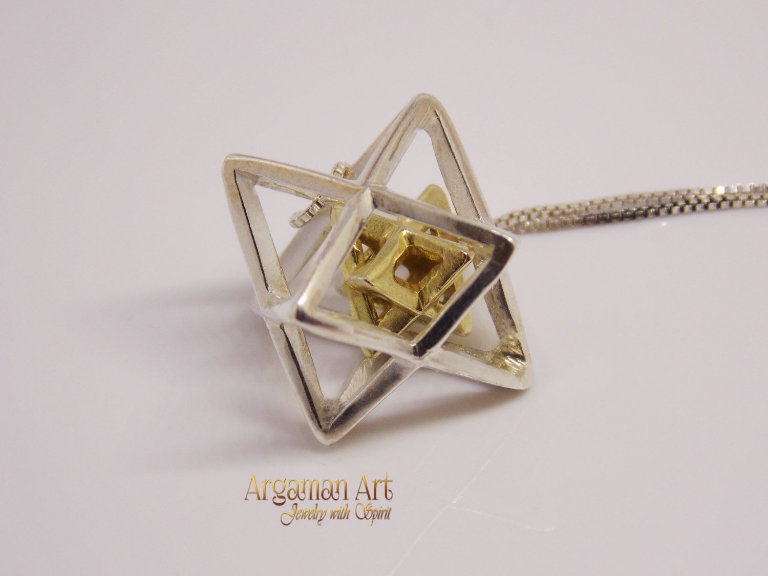 Silver and gold 14k merkaba pendant 3d star of david shield of silver and gold 14k merkaba pendant 3d star of david shield of david mozeypictures Gallery