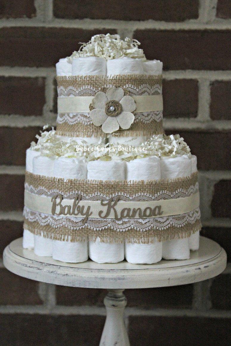 Mini 2 tier shabby burlap diaper cake burlap and lace