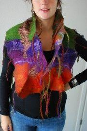 shawl, herfst met groen @ www.Q-artvilt.com