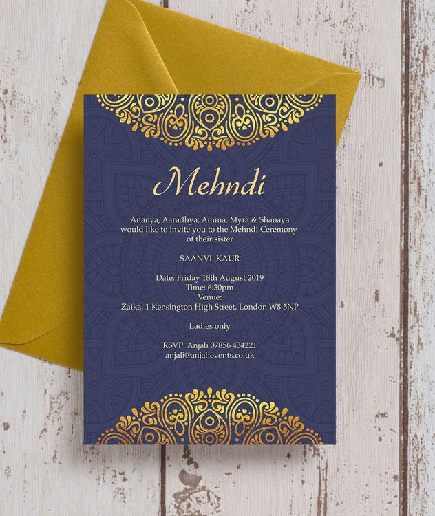 Personalised Indian Asian Navy Blue Gold Mehndi Baraat Cards Printable Pdf Or P Wedding Card Design Indian Indian Wedding Invitations Indian Wedding Cards