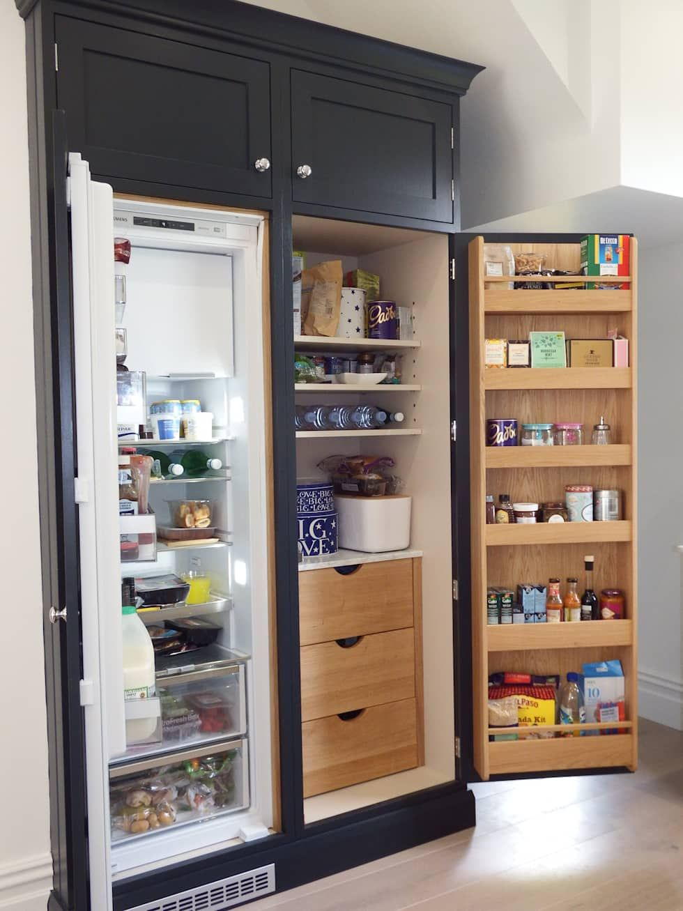 Pantry cabinet with fridge: kitchen by inglish design, modern #pantrycabinet