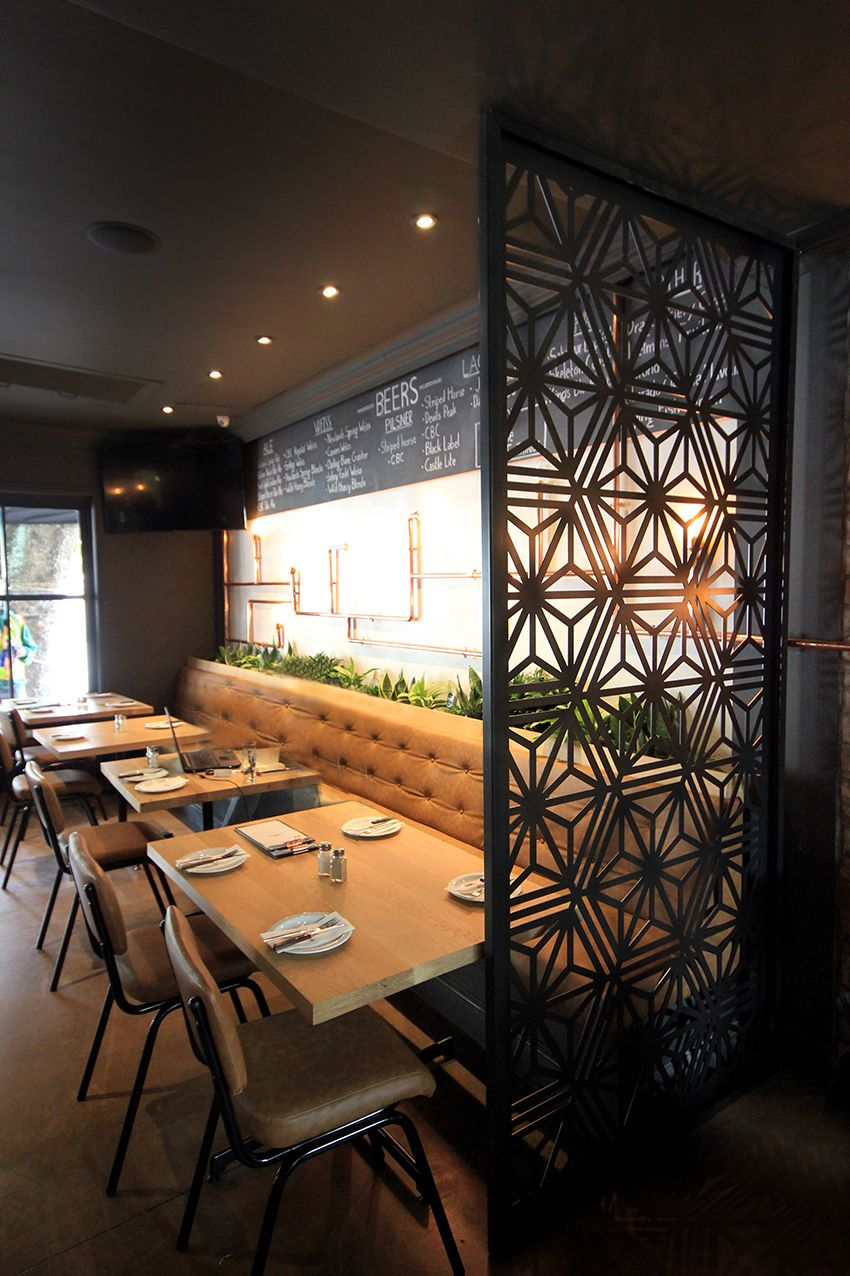 Copper Club Restaurant, Bespoke design, Laser cut Screens ...