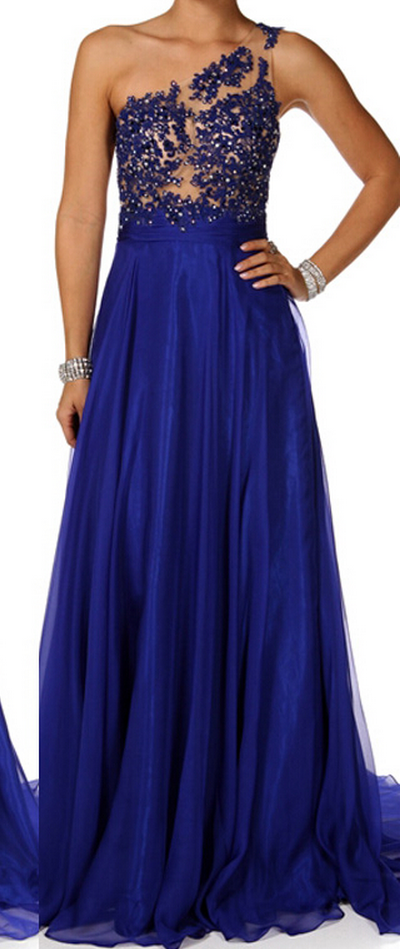 a4e1323603b Royal Blue Long Chiffon Prom Gowns 2015 A-line One Shoulder Backless  Appliques