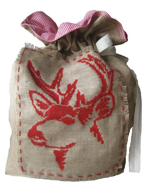 Scandinavian Christmas Sack Reindeer - pdf pattern for cross stitch on burlap/hessian on Etsy, $8.58 CAD