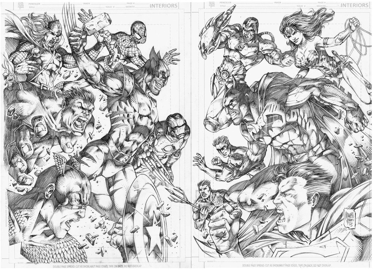 Marvel vs dc by marcio abreu colouring pages for Marvel universe coloring pages