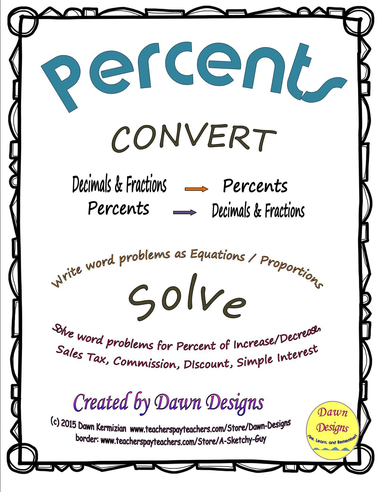 Percents Convert Decimals Fractions Solve Using