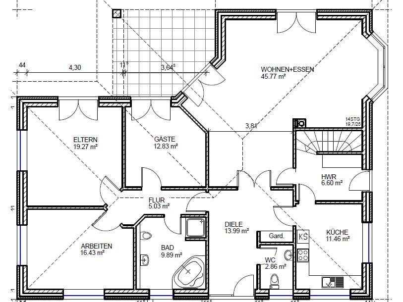 Bungalow Grundriss Variante B mit 144 m² Wohnfläche