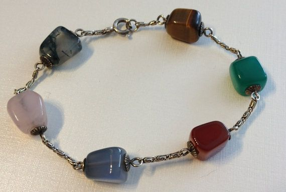 Multi Colored Precious Stones and Silver Tone by vintagerepublic1, $20.00