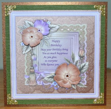 8x8 CHOCOLATE MINT FLORALS Topper Decoupage on Craftsuprint designed by Janet Briggs - made by Debbie Knechtel