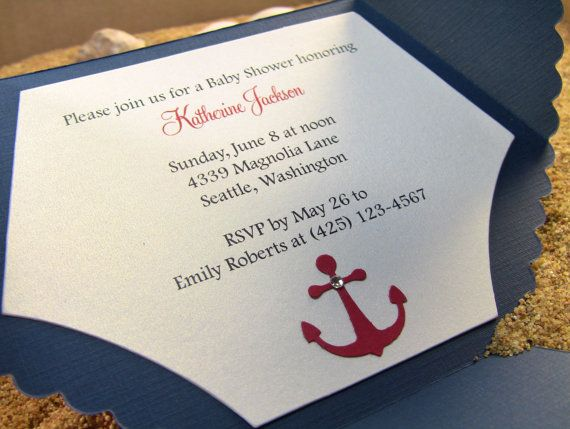 Nautical Shower Invitation Cards Diaper Invitation Cards New