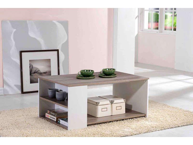 table basse leader coloris ch ne et blanc pas cher c. Black Bedroom Furniture Sets. Home Design Ideas