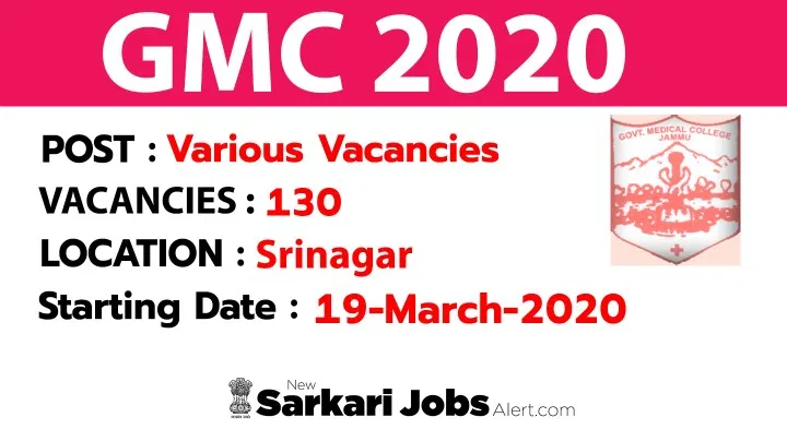 Gmc Jammu Various Vacancy 130 Posts Updated On Current Date In