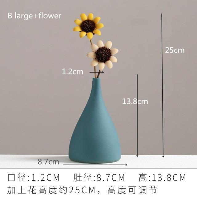 Photo of European Simple Ceramic vase yellow Porcelain vases small flower vase DIY Bottle wedding vases for table decorations home decor – B Big and flower