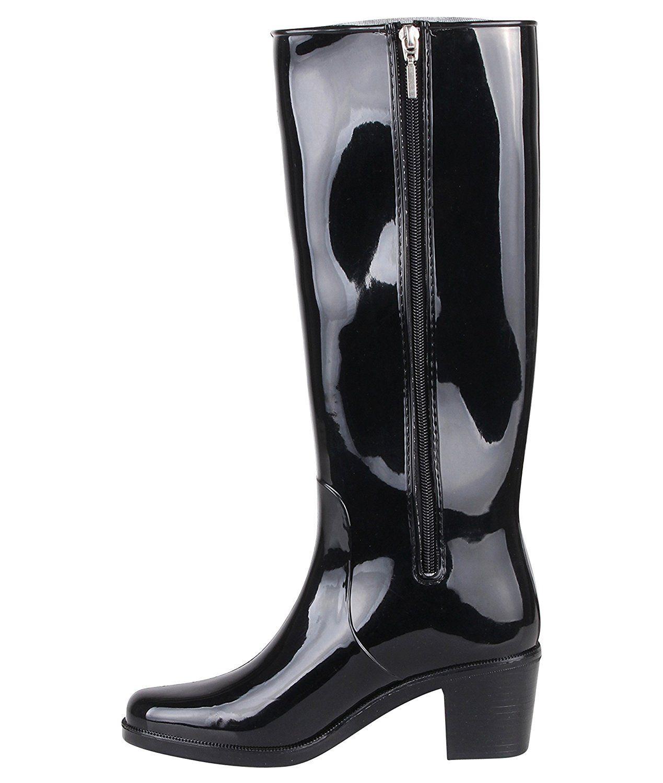 2dd4ecd789f4e9 KRISP® Femme Bottes de Pluie Caoutchouc Petit Talon Bloc: Amazon.fr:  Chaussures et Sacs Plus