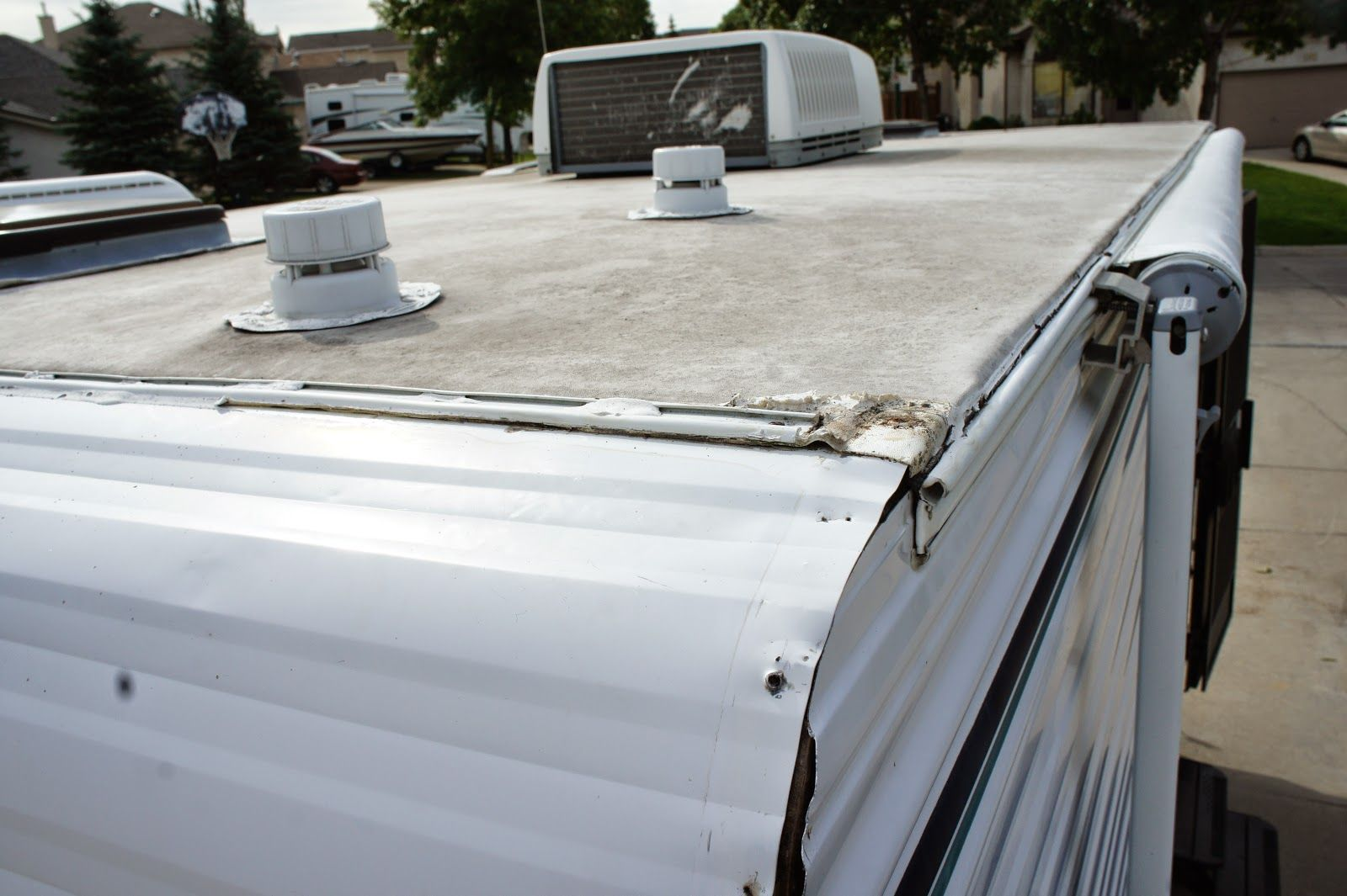 I Started By Fixing The Roof And While I Was Up On The Roof I Noticed The Same Crappy Caulk Job Not Only On The Terminator Bar Roof Maintenance Roof Repair