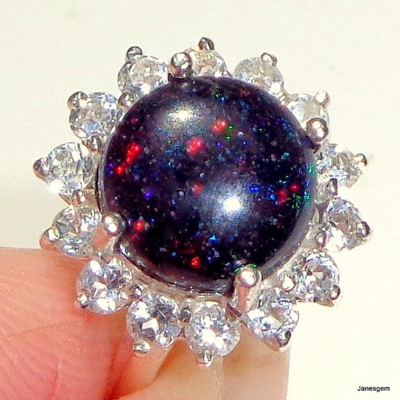 Australian Black Opal Ring Multi Color Spit By Janesgemcreations
