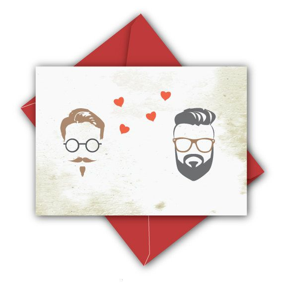 Funny Illustrated Gay Valentines Day or Love Card – Gay Valentines Card