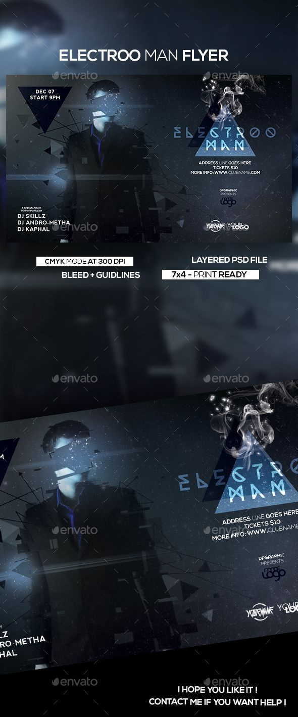 Electroo Man Flyer | Fonts-logos-icons | Flyer design templates